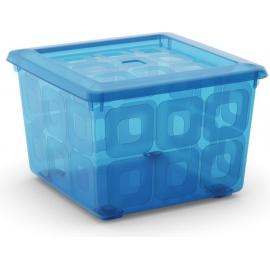 Square box ratastega, sinine